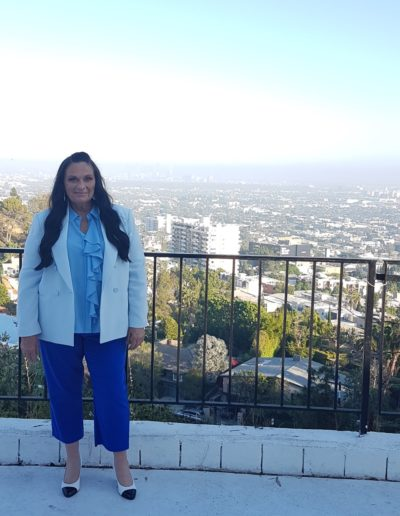Kerrie on location in the Hollywood Hills filming Mister Surpranational USA 2018 pageant.